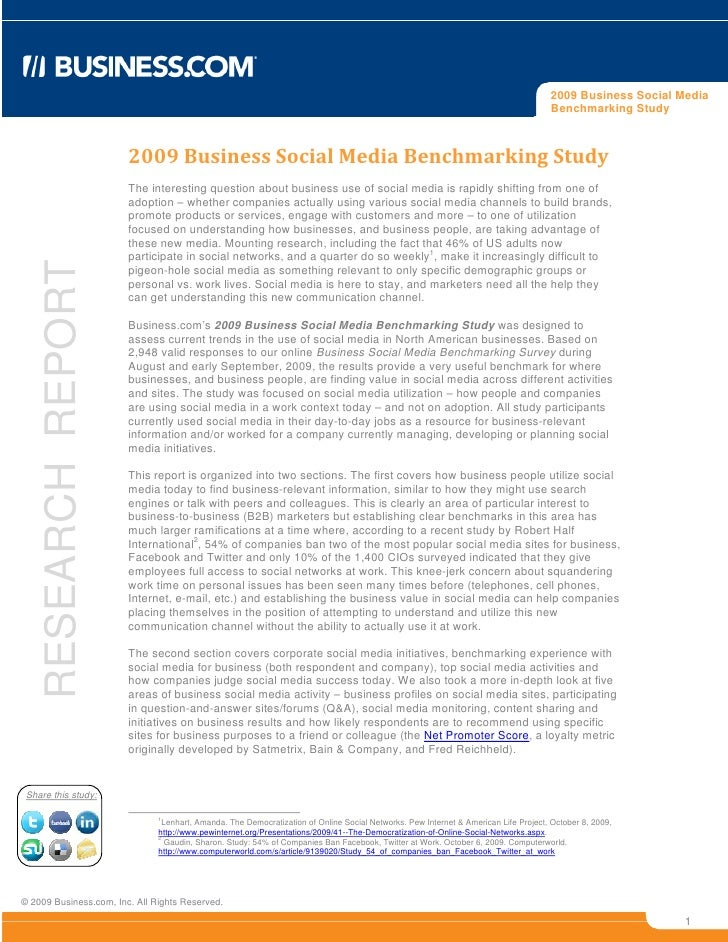 Bdc 2009 Social Media Benchmark
