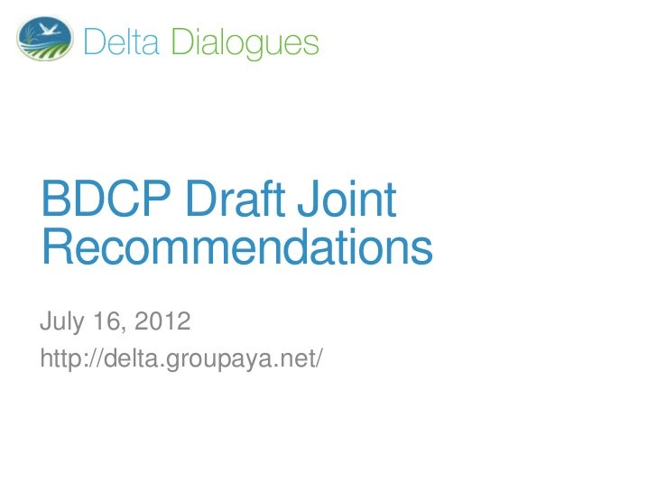 BDCP joint recommendations - 2012/07/16