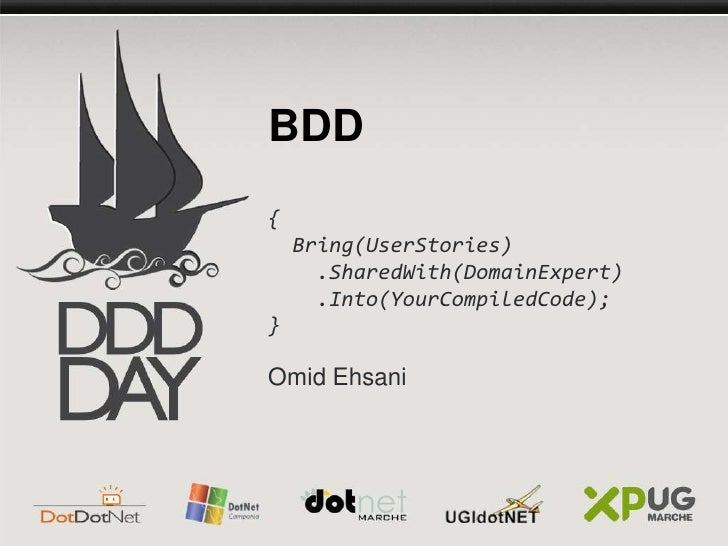 BDD<br />{   <br /> Bring(UserStories)<br />    .SharedWith(DomainExpert)<br />    .Into(YourCompiledCode); <br />}<br />O...
