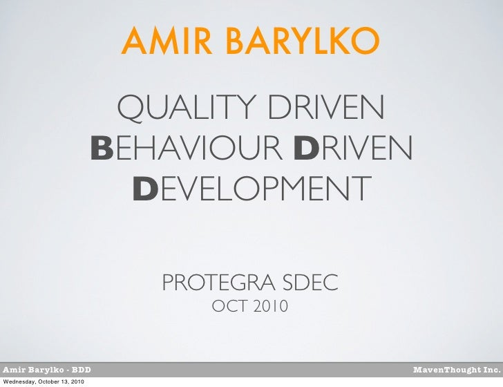 SDEC10-Bdd-quality-driven