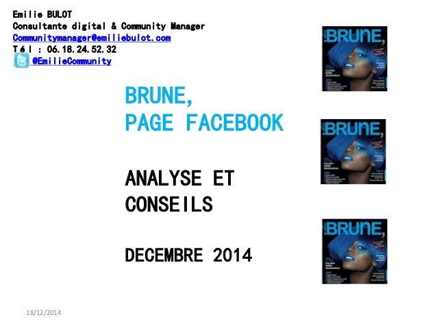 18/12/2014 BRUNE, PAGE FACEBOOK ANALYSE ET CONSEILS DECEMBRE 2014 Emilie BULOT Consultante digital & Community Manager Com...