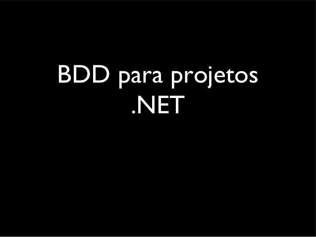 BDD in .NET projects