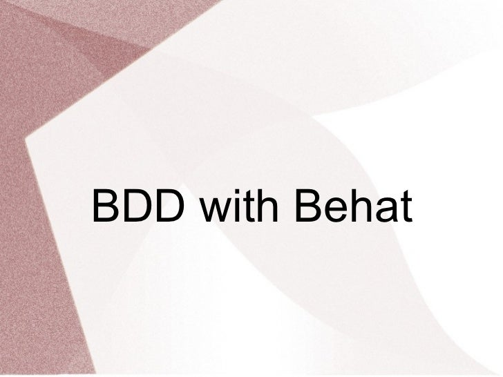 BDD with Behat
