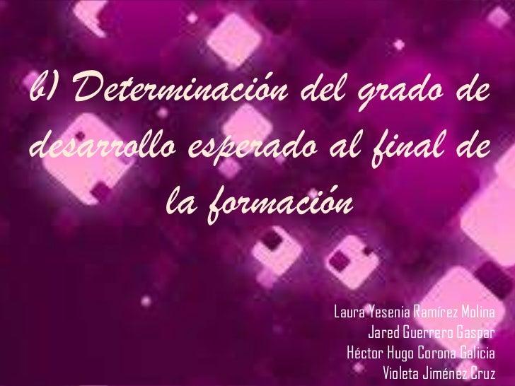 b) Determinación del grado dedesarrollo esperado al final de         la formación                    Laura Yesenia Ramírez...