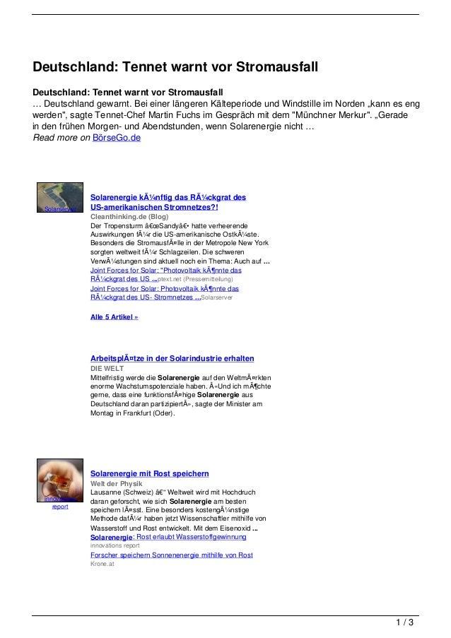 Deutschland: Tennet warnt vor StromausfallDeutschland: Tennet warnt vor Stromausfall… Deutschland gewarnt. Bei einer länge...