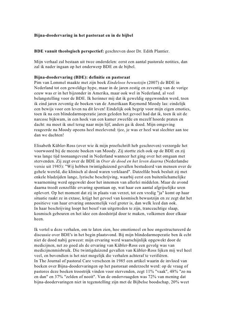 Bijna-doodervaring in het pastoraat en in de bijbelBDE vanuit theologisch perspectief: geschreven door Dr. Edith Plantier....