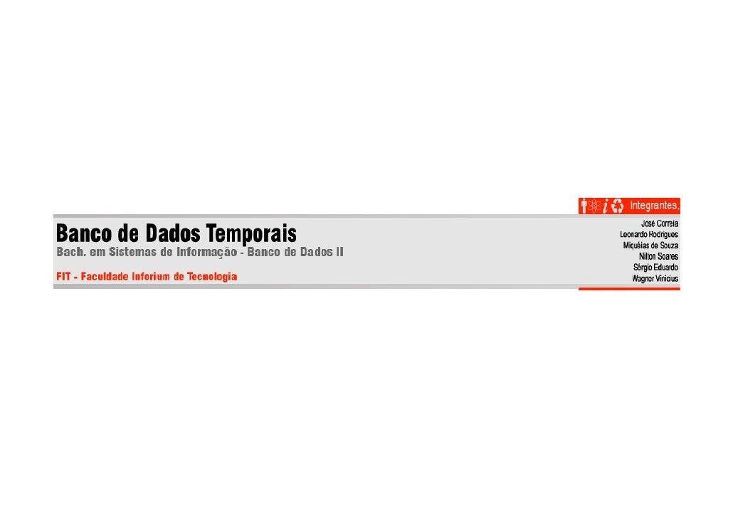 Banco de Dados Temporais - Temporal DataBase
