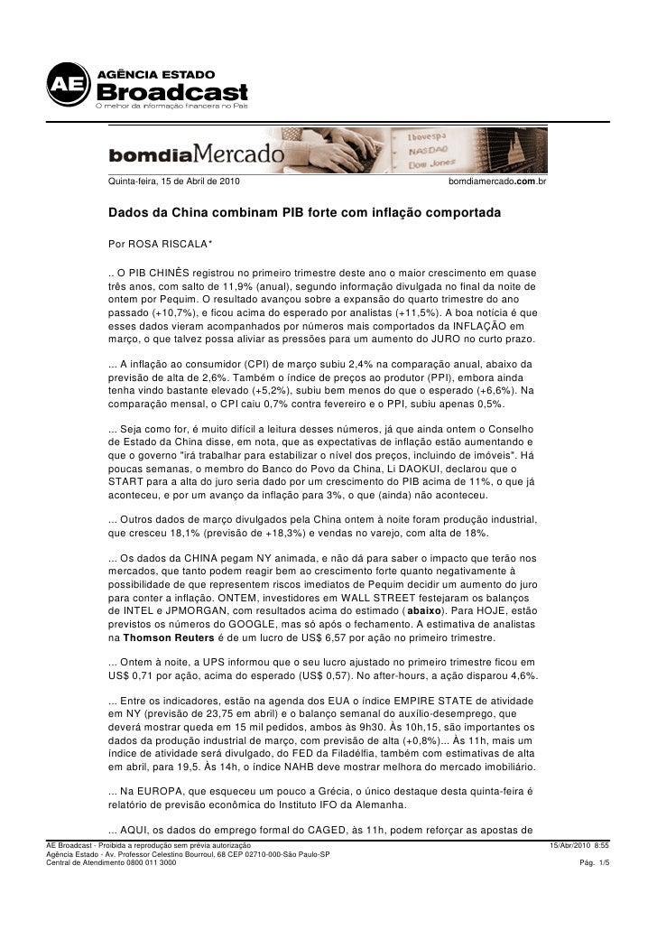 Quinta-feira, 15 de Abril de 2010                                       bomdiamercado.com.br                    Dados da C...