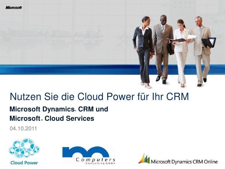Nutzen Sie die Cloud Power für Ihr Microsoft Dynamics CRM