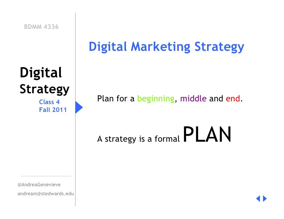 BDMM 4336                        Digital Marketing StrategyDigitalStrategy        Class 4          Plan for a beginning, m...