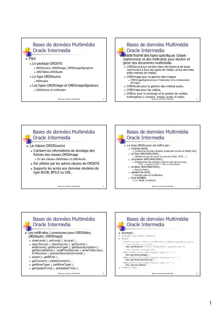 Bases de données Multimédia                                Bases de données Multimédia  Oracle Intermedia                 ...