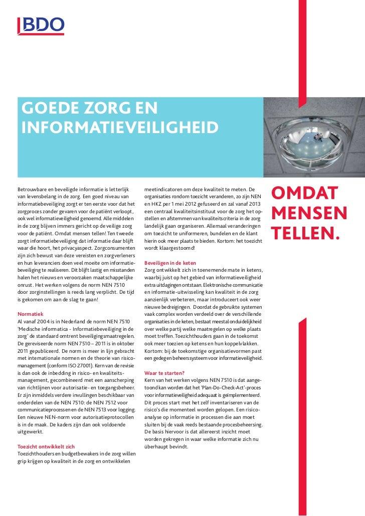 BDO | Goede zorg en informatieveiligheid