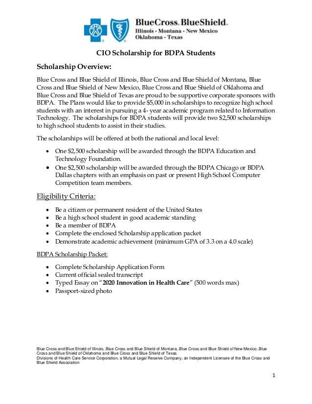 CIO Scholarship for BDPA Students (BlueCross of IL, MT, NM, OK, TX)