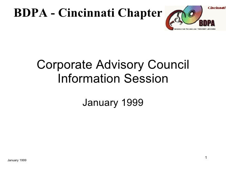BDPA Cincinnati Corporate Advisory Council Overview (1999)