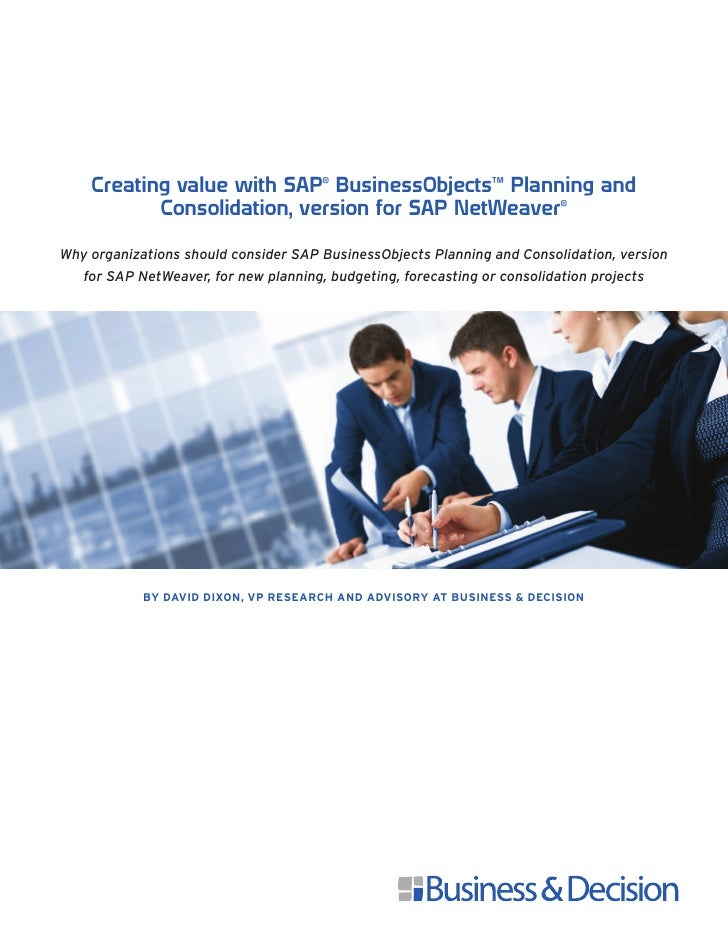 Creating Value with SAP BusinessObjects Planning and Consolidation, version for SAP NetWeaver