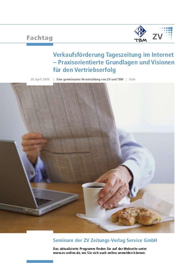 Fachtag                  Verkaufsförderung Tageszeitung im Internet                  – Praxisorientierte Grundlagen und Vi...