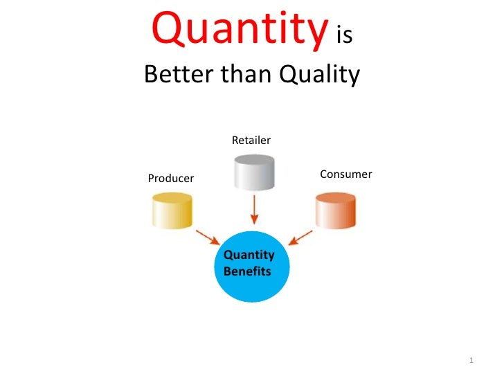 Quantity is Better than Quality<br />1<br />Retailer<br />Consumer<br />Producer<br />Quantity<br />Benefits<br />