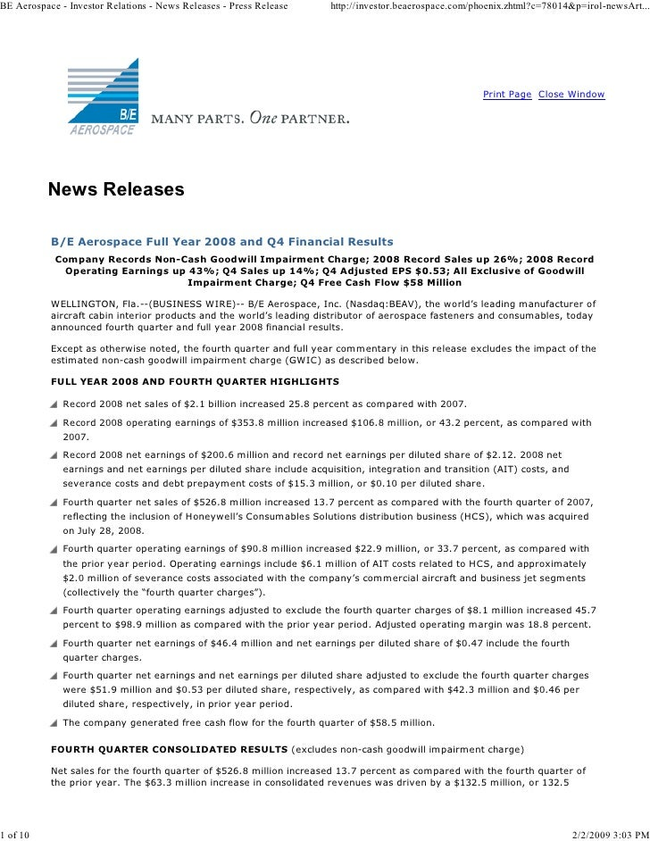 Be Aerospace Full Year 2008 And Q4 Financial Results