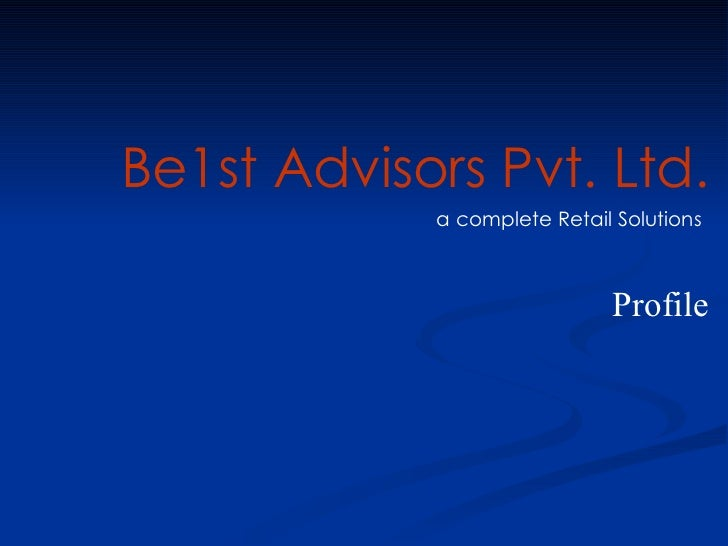 Be1st Advisors  Retail   Profile