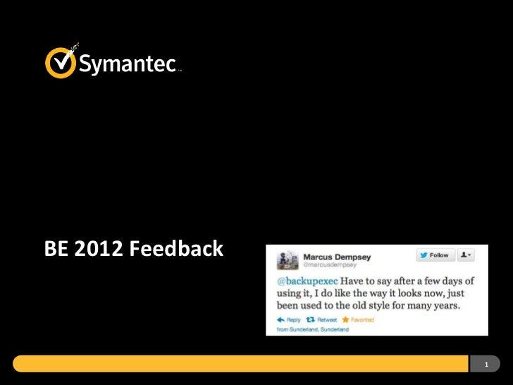 BackupExec 2012 Feedback