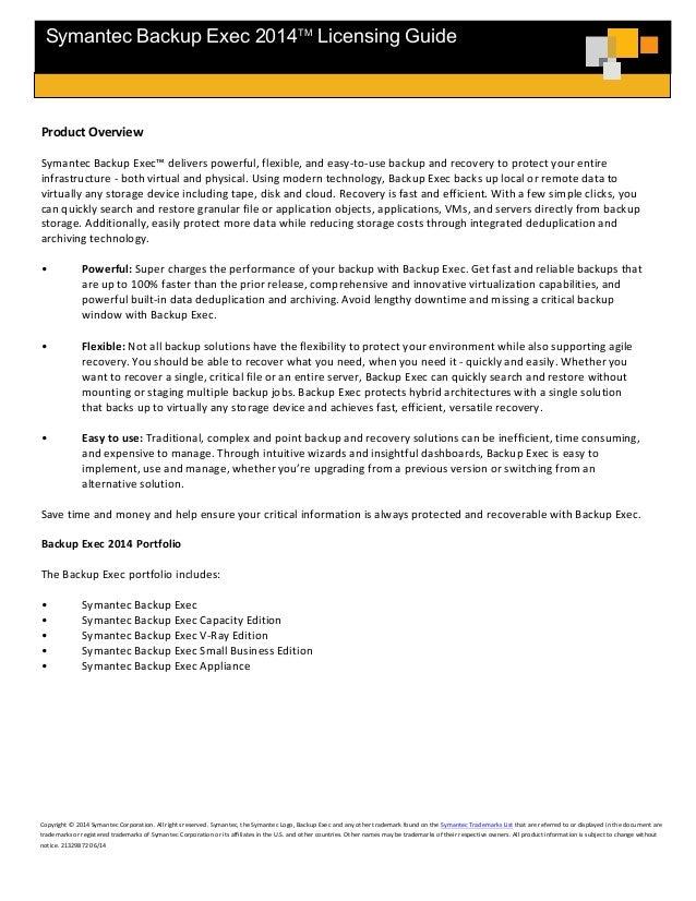 Symantec Backup Exec 2014 licensing guide