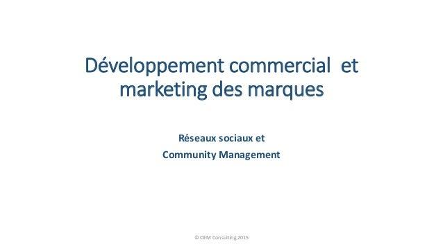Développement commercial et marketing des marques Réseaux sociaux et Community Management © OEM Consulting 2015