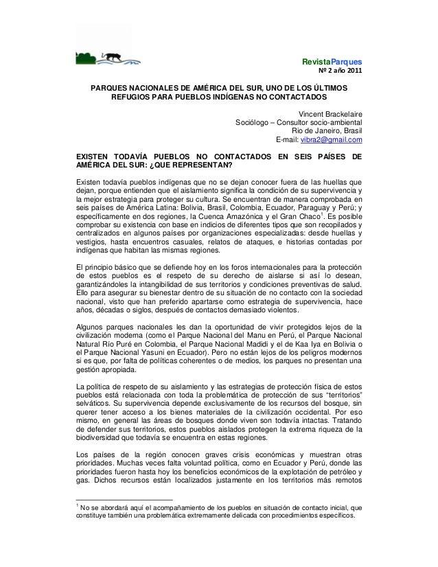 RevistaParques Nº2año2011  PARQUES NACIONALES DE AMÉRICA DEL SUR, UNO DE LOS ÚLTIMOS REFUGIOS PARA PUEBLOS INDÍGE...