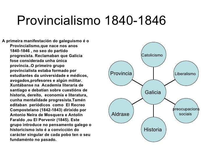 Provincialismo 1840-1846  <ul><li>A primeira manifestación do galeguismo é o Provincialismo,que nace nos anos 1840-1846 , ...