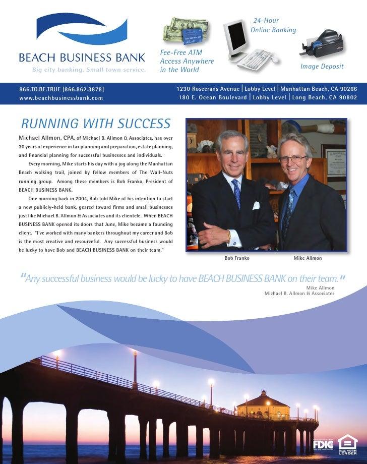 Beach Business Bank Ad with Robert Franko And Michael Allmon, CPA of Michael B. Allmon & Associates