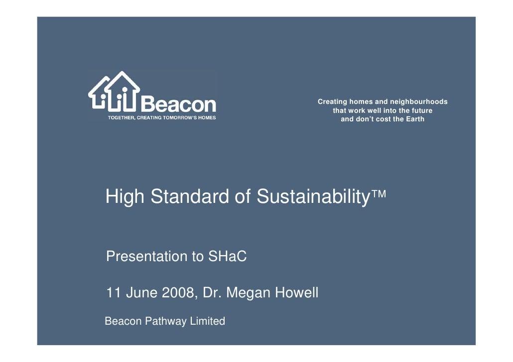 Beacon Pathway High Standard of Sustainabillity (HSS)