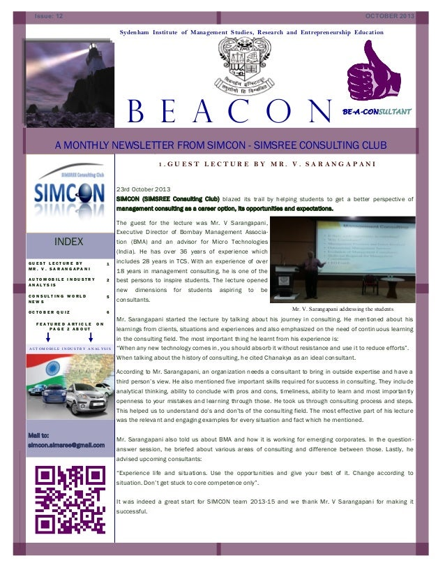Issue: 12  OCTOBER 2013 Sydenham Institute of Management Studies, Research and Entrepreneurship Education  B E A C O N :  ...