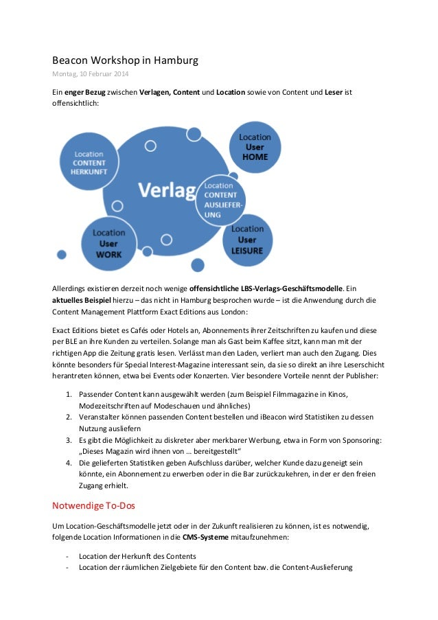 Beacon  Workshop  in  Hamburg   Montag,  10  Februar  2014   Ein  enger  Bezug  zwischen  Verlagen...