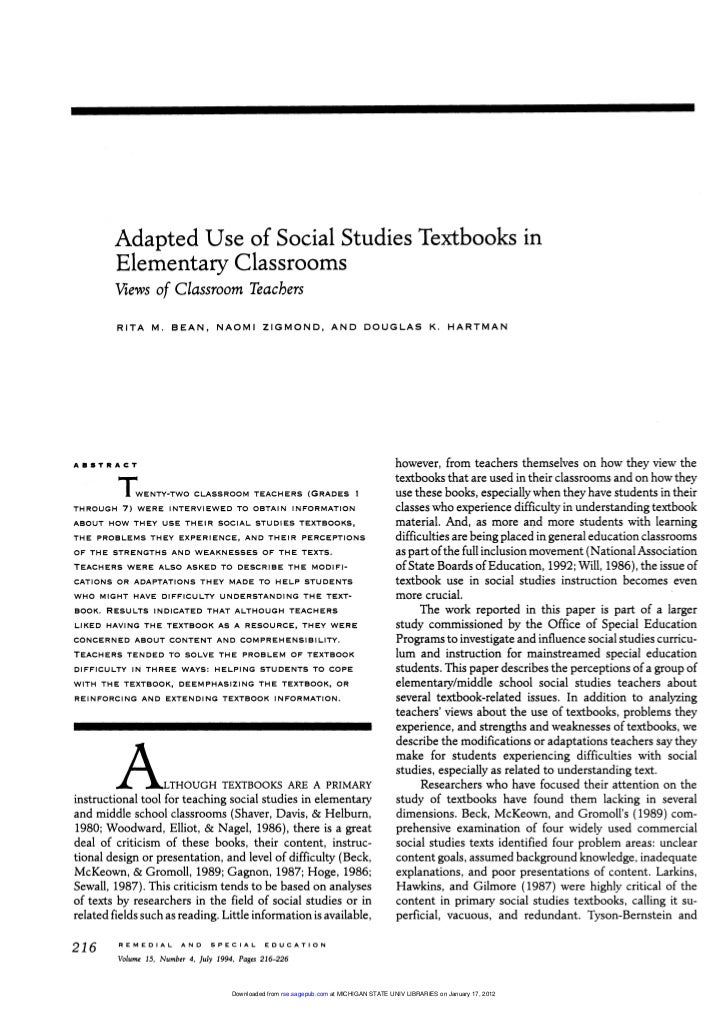 Adapted Use of Social Studies Textbooks in            Elementary Classrooms             Views of Classroom Teachers       ...