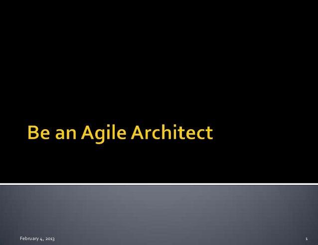 Be an agile architect