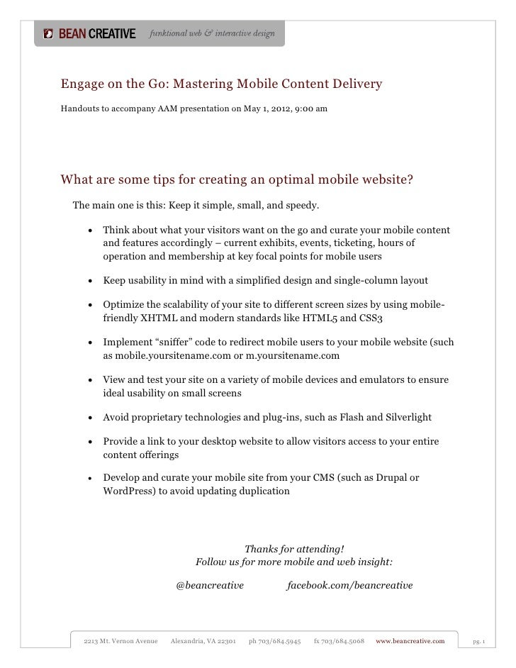 Engage on the Go: Mastering Mobile Content DeliveryHandouts to accompany AAM presentation on May 1, 2012, 9:00 amWhat are ...