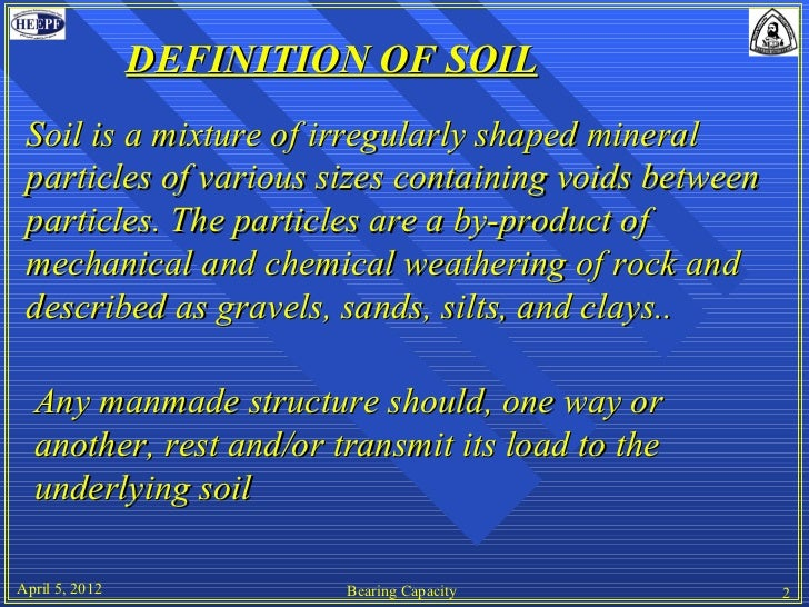 Bearing capacity for Soil particles definition