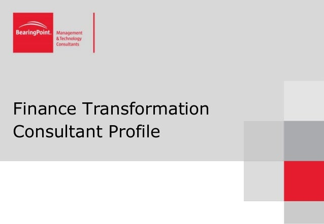 Finance Transformation Consultant Profile
