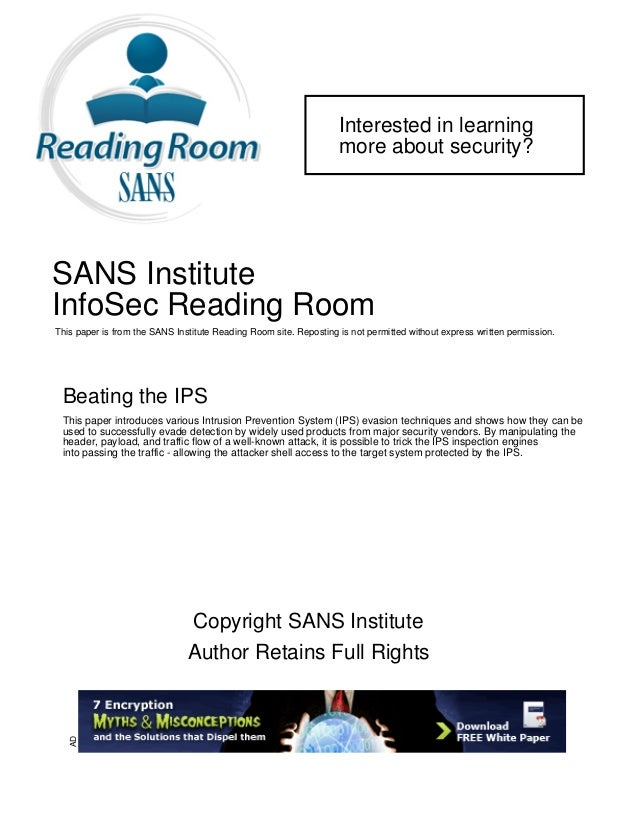 Interested in learning more about security? SANS Institute InfoSec Reading Room This paper is from the SANS Institute Read...