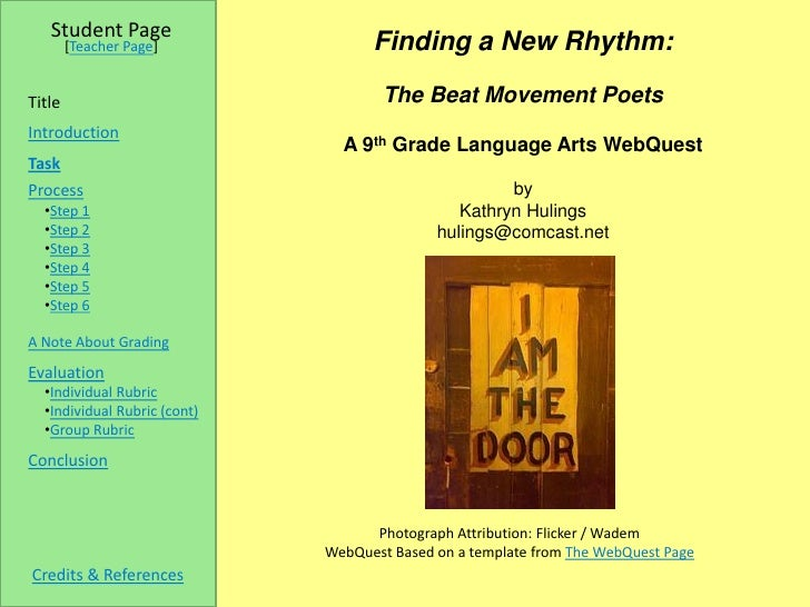 Student Page         [Teacher Page]              Finding a New Rhythm:  Title                                 The Beat Mov...