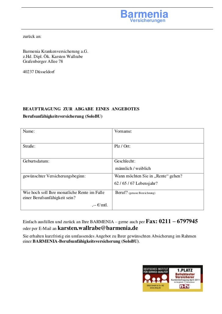 Barmenia                                                      Versicherungenzurück an:Barmenia Krankenversicherung a.G.z.H...