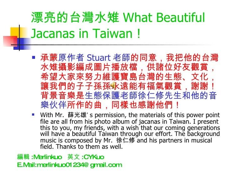 漂亮的台灣水雉 What Beautiful Jacanas in Taiwan ! <ul><li>承蒙 原作者 Stuart 老師 的同意,我把他的台灣水雉攝影編成圖片播放檔,供諸位好友觀賞,希望大家來努力維護寶島台灣的生態、文化,讓我們的...