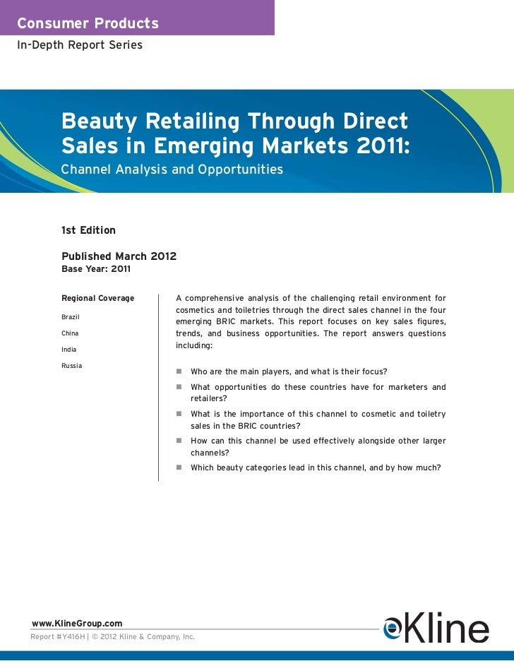 Consumer ProductsIn-Depth Report Series          Beauty Retailing Through Direct          Sales in Emerging Markets 2011: ...