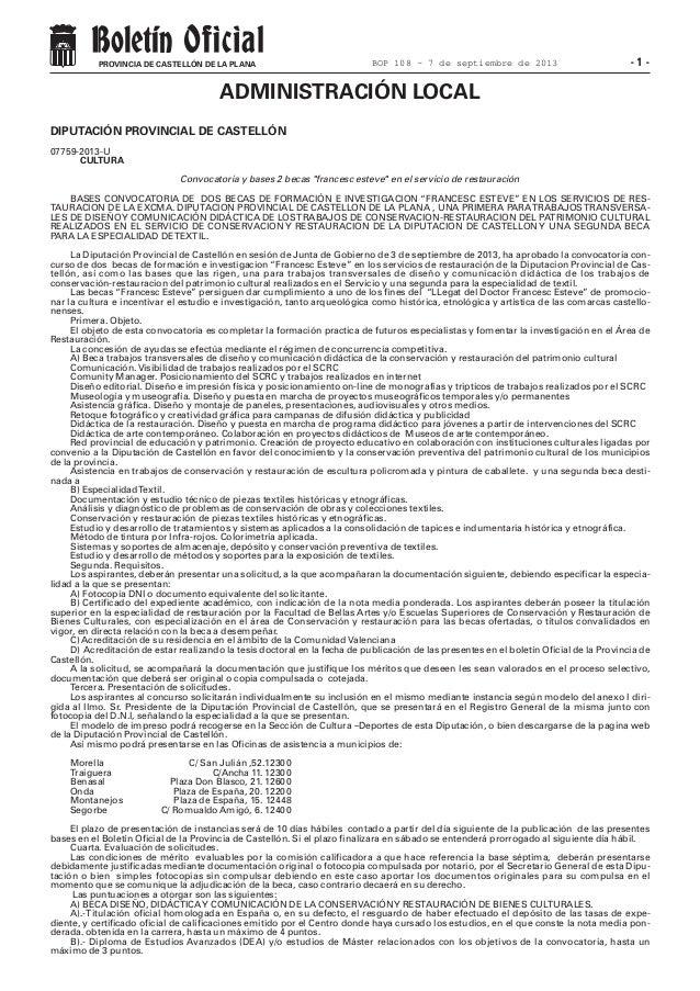 - 1 -PROVINCIA DE CASTELLÓN DE LA PLANA DIPUTACIÓN PROVINCIAL DE CASTELLÓN 07759-2013-U CULTURA Convocatoria y bases 2 bec...