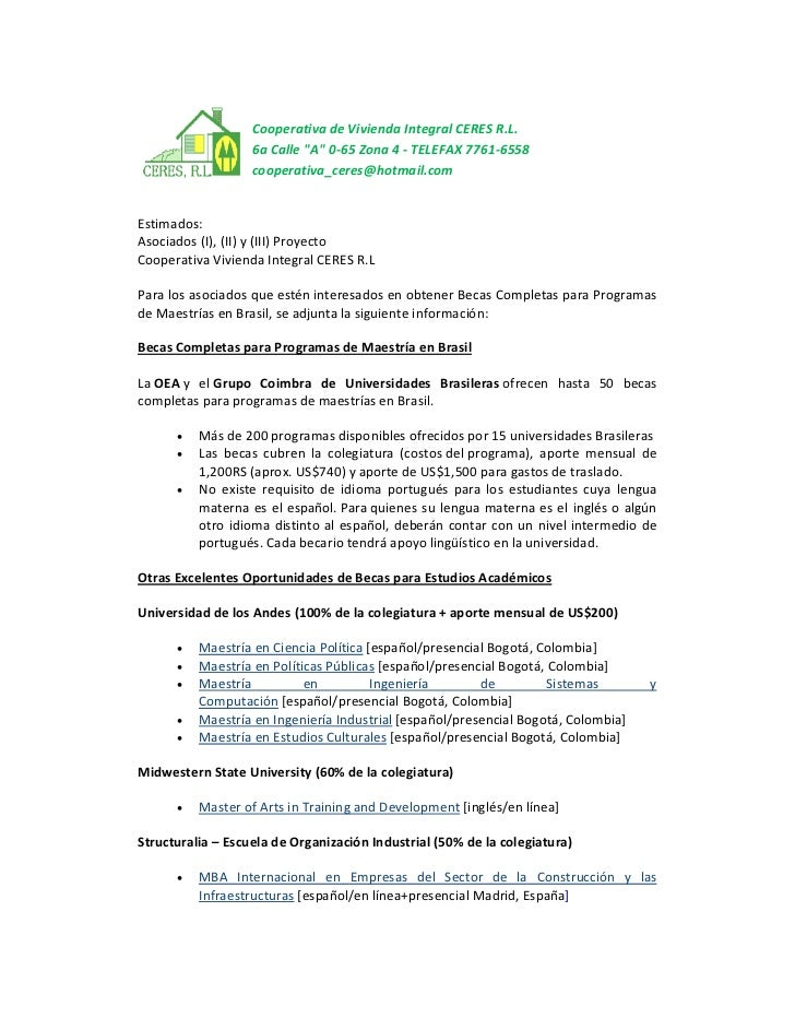 "Cooperativa de Vivienda Integral CERES R.L.                   6a Calle ""A"" 0-65 Zona 4 - TELEFAX 7761-6558                ..."