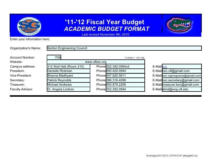 B E C  Budget 2011 2012