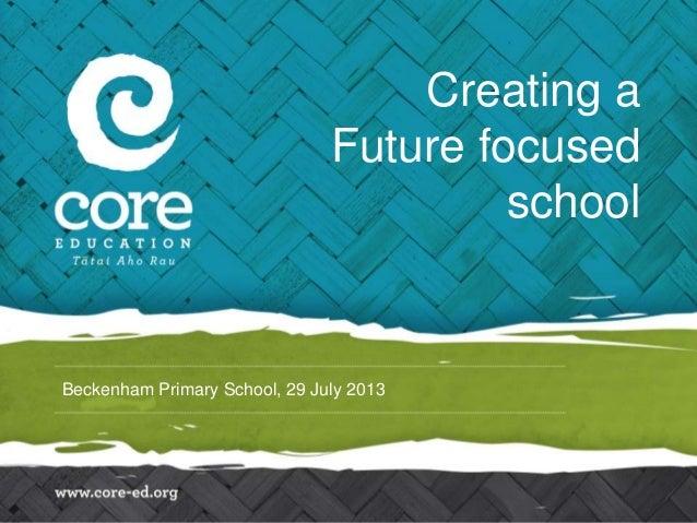 Beckenham Primary School, 29 July 2013 Creating a Future focused school