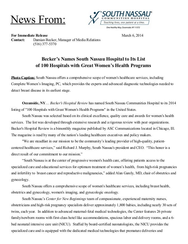 News From: For Immediate Release Contact: Damian Becker, Manager of Media Relations (516) 377-5370  March 6, 2014  Becker'...
