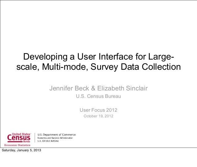 Developing a User Interface for Large-Scale Surveys (Jennifer Beck & Elizabeth Sincalir)