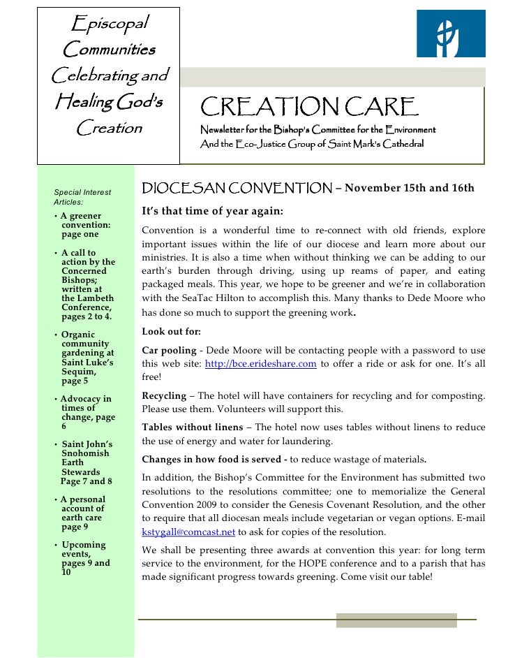 Episcopal CommunitiesCelebrating andHealing God's                    CREATION CARE  Creation                       Newslet...
