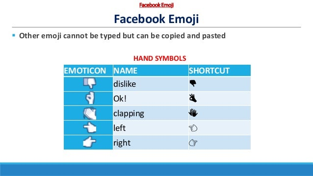 facebookemoji other emoji cannot be typed but can be copied Facebook Emoticons Code Clap